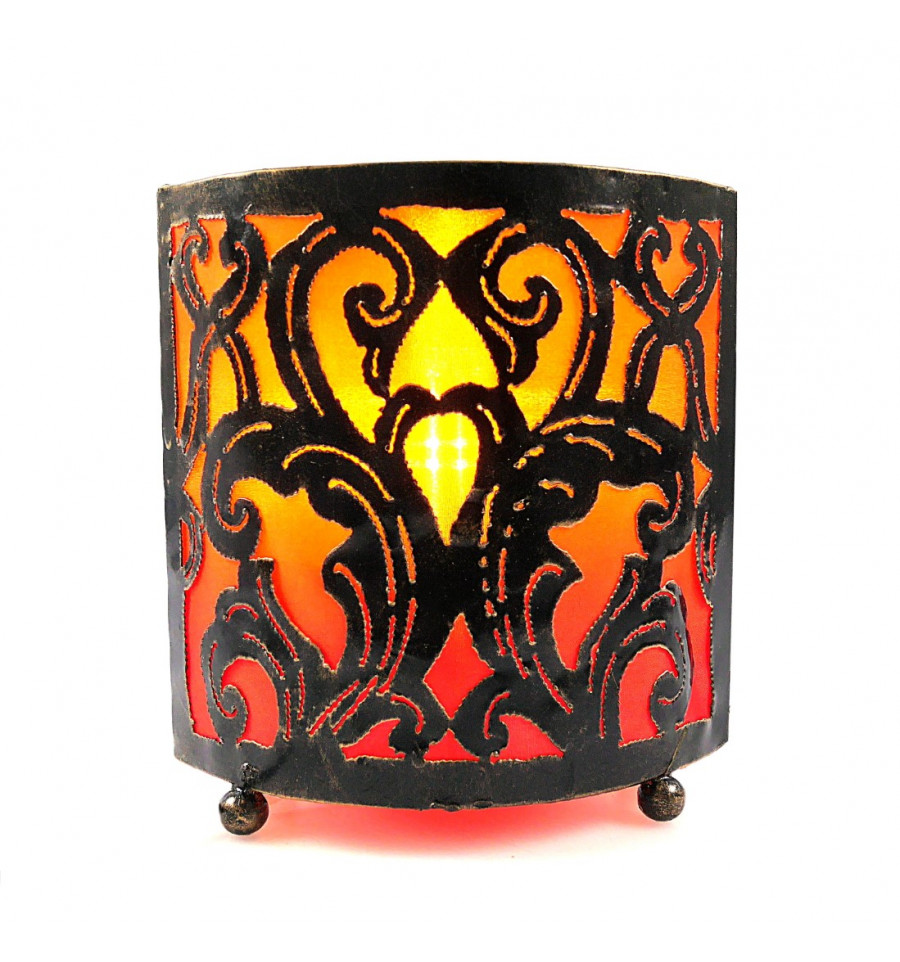 Lampe De Chevet Marocaine Orientale Fer Forge Orange Achat