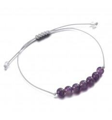 Bracelet porte-bonheur en améthyste, optimisme, gaité, joie de vivre.