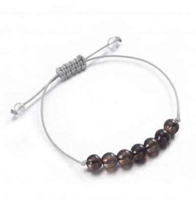 Bracelet porte-bonheur en quartz fumé morion, lucidité, maturité.