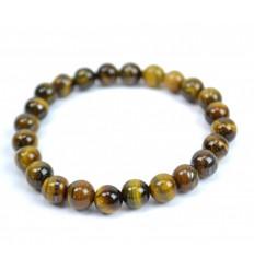 Bracelet Lithothérapie en Oeil de Tigre naturel - Protection, confiance en soi.