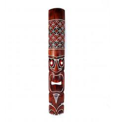 Masque Tiki bois h100cm motif coloré. Déco Tiki.