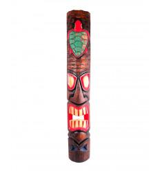 Maschera Tiki polinesiana motivo Tartaruga H100cm legno