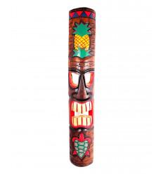 Large Tiki mask 100cm motif, pineapple and turtle. Decoration maori polynesia