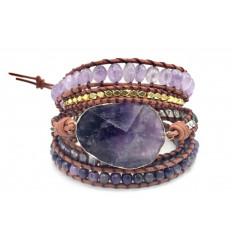 Bracelet Wrap cuir et Améthyste - Anti-stress et relaxant