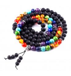 Mala tibétain 108 perles en pierre de lave et pierres des 7 chakras. Yoga et méditation