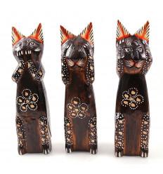 Il 3 gatti di saggezza, statuette legno 20cm.