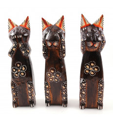 The 3 cats of the wisdom. Lot of 3 Figurines handcrafted wood.