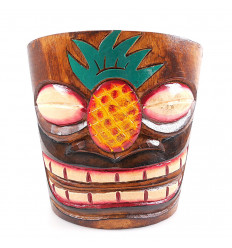 "Cache-pot ""Tiki"" in wood pattern pineapple"