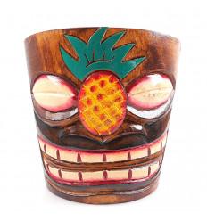 """Cache-pot """"Tiki"""" nel modello di legno di ananas"""
