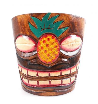 """Cache-pot """"Tiki"""" en bois motif ananas"""