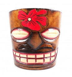 "Cache-pot ""Tiki"" wooden flower motif"