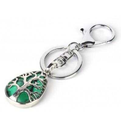 Porte-clefs / bijou de sac Malachite - Arbre de vie