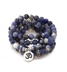 Mala 108 perles en Sodalite naturelle - symbole Ôm