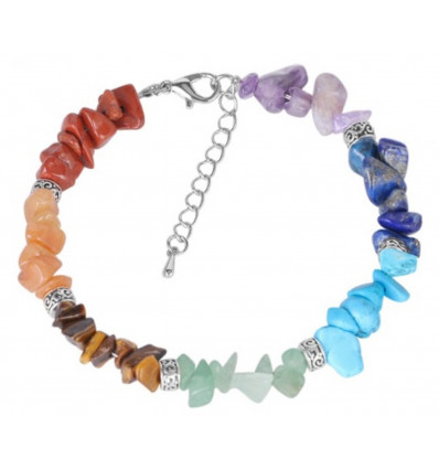 Bracelet Reiki the 7 chakras - precious Stones and silver-plated beads
