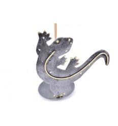 Brûle-encens en fer forgé - Motif gecko/lézard/salamandre/margouillat