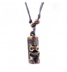 Collana mista uomo / donna con ciondolo Tiki - gioielli maori Hawaii Tahiti