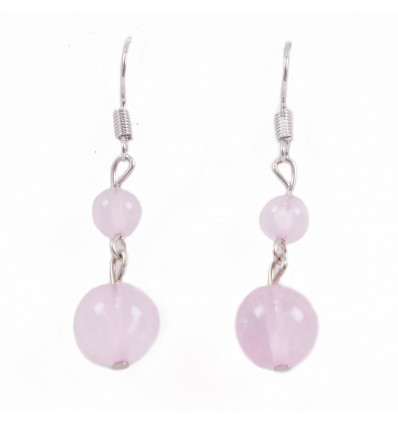 Pair of earrings 2 balls in Rose Quartz