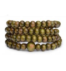 Bracelet Tibétain, Mala en perles de bois 6mm vert.