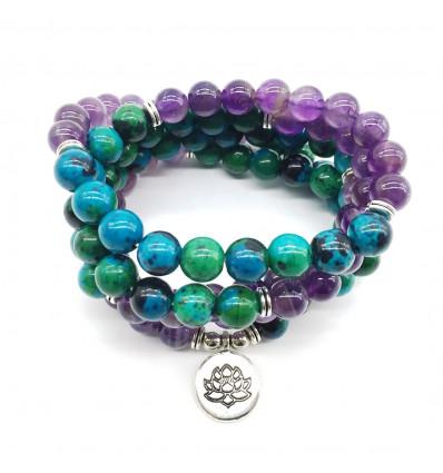 Bracelet Mala 108 perles en Chrysocolle et Améthyste - Symbole fleur de Lotus