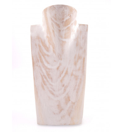 Bust Display necklaces in solid wood white brushed professional.