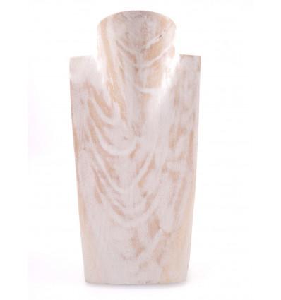 Busto Visualizzare le collane in legno massello bianco spazzolato professionale.