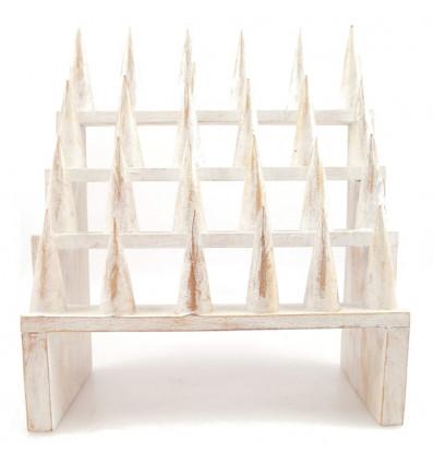 Grande porta-anelli / Display-ring (24 coni) in legno massello finitura bianco spazzolato