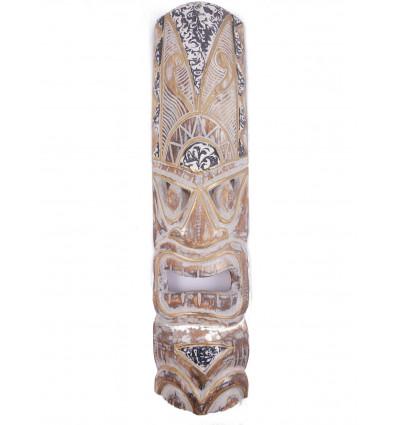 Déco murale ethnique. Masque Tiki h30cm en bois style traditionnel