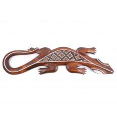 Gecko motivo batik - decorazione parete in legno 50cm