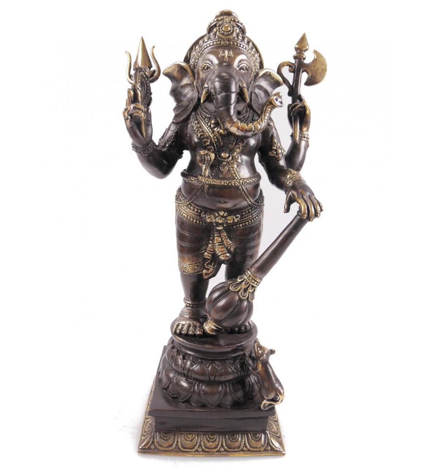 Statue Ganesh en bronze H40cm. Artisanat asiatique.