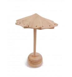Présentoir à boucles d'oreilles forme parasol en bois massif brut