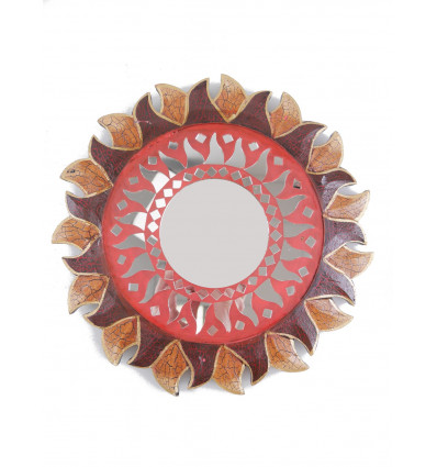 Mirror round shape Sun, diameter 25cm. Deco ethnic.