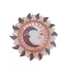 Miroir ethnique forme Soleil motif Lune, diamètre 25cm.