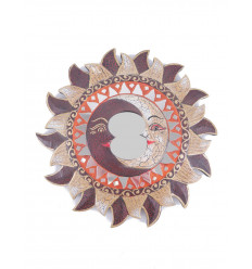 Mirror ethnic Sun pattern Moon, diameter 25cm.