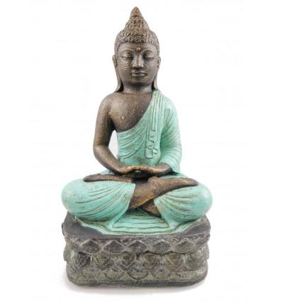 Statue stone Buddha, lotus position, turquoise. Decoration craft.