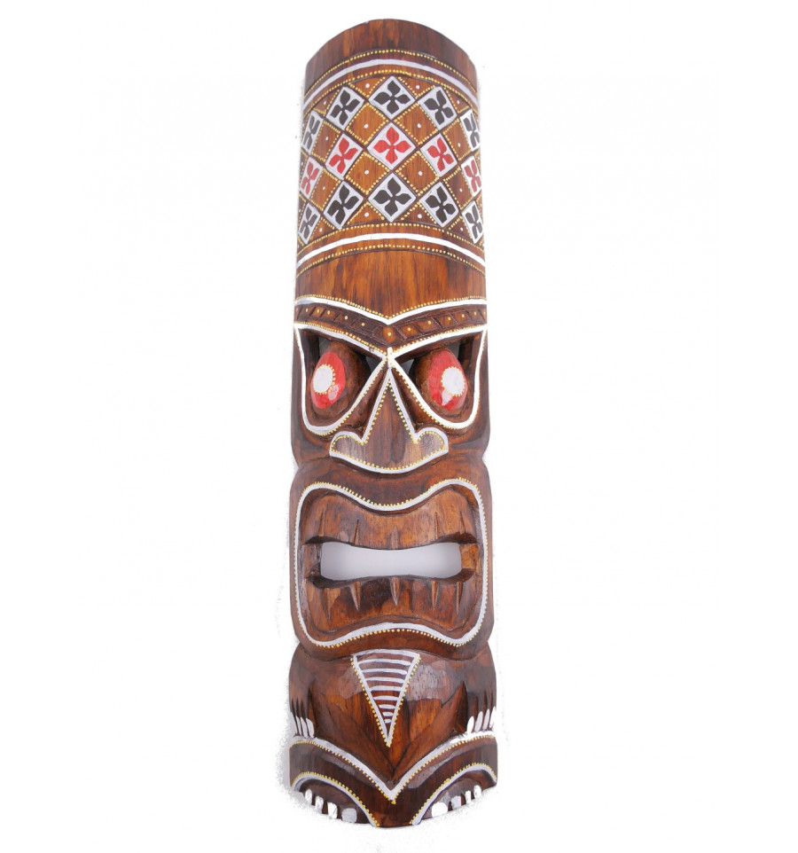 Masque Tiki h30cm en bois Fabrication artisanale.