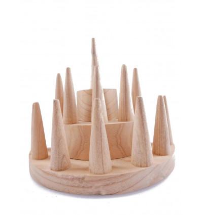 Display anelli professionale di fascia alta, in legno naturale.