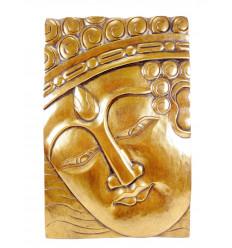 Tableau tête de bouddha en bois doré, décoration murale bouddhiste.