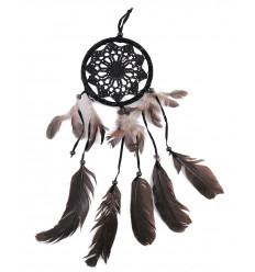 Attrape-rêve noir pas cher en vrais plumes, tissé à la main.