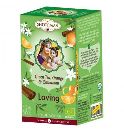 Infusion ayurvédique bio Shoti Maa au thé vert, orange, cannelle.