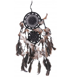 Double dream catcher 65x25cm - embroidery hook black