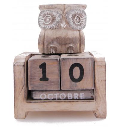 Piccolo calendario perpetuo Gufo / Civetta in legno. Regalo bambino.