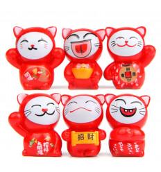 Chats porte-bonheur - Lot de 6 Maneki Neko rouges - Fortune et protection