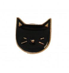 Pin's chat noir doré, broche originale et mignonne, félin pas cher