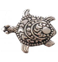 Broche tortue de mer motif tribal - argent 925