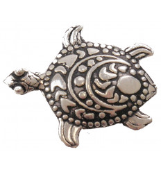 Pin sea turtle tribal pattern - silver 925