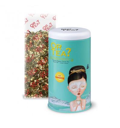 Il tè verde ginseng biologico antiossidante. Tè tonico anti-invecchiamento.