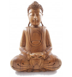 Sculpture of Buddha in wood, asian decor craft, statue.