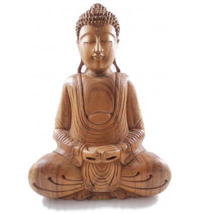 Sculpture Bouddha en bois, décoration asiatique artisanale, statue.