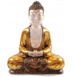 Bouddha assis méditation, statue dorée. Décoration asiatique zen.
