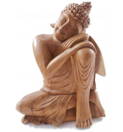 Bouddha birman zen bois brut massif déco Bali pas cher